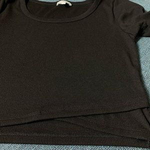 Black Ribbed Crop Top Small